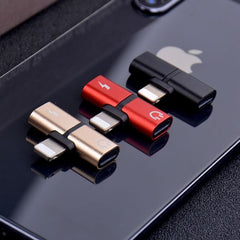 Dual Lightning Adapter For iPhone 2 in 1 Gold Dual-Port Splitter-CoolDesignOnline