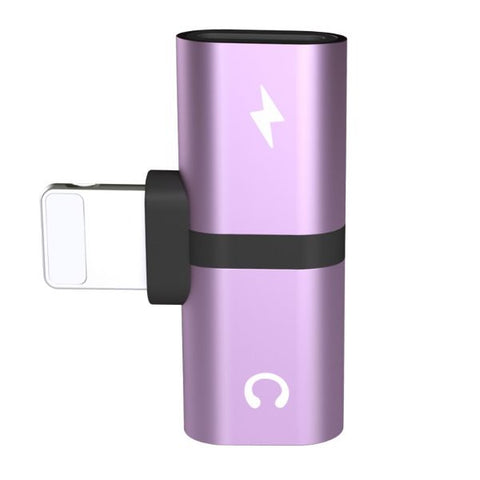 Dual Lightning Adapter For iPhone 2 in 1 Purple Dual-Port Splitter-CoolDesignOnline