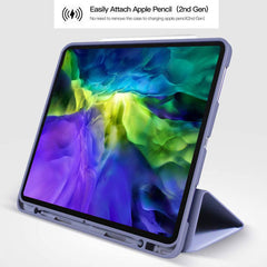 iPad Pro Case 2020 12.9 inch 4th Gen Pencil Holder Blue Leather Cover-CoolDesignOnline