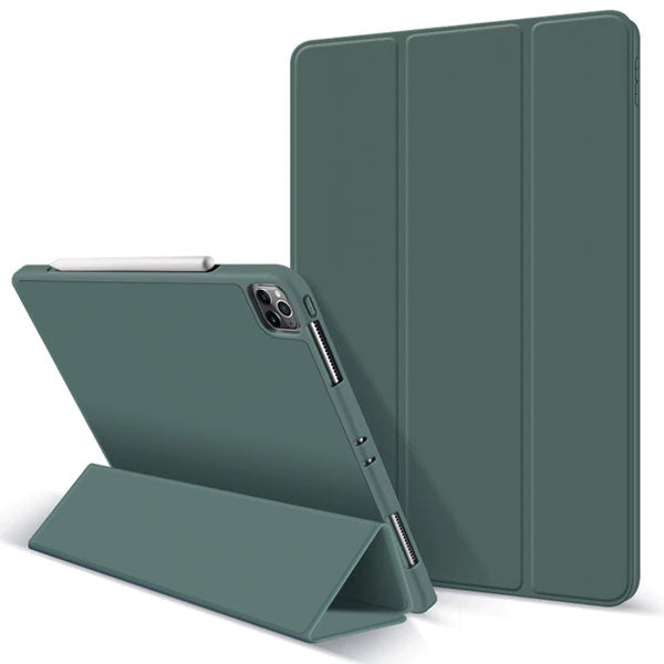 iPad Pro Case 2020 12.9 inch 4th Gen Pencil Holder Dark Green Leather Cover-CoolDesignOnline