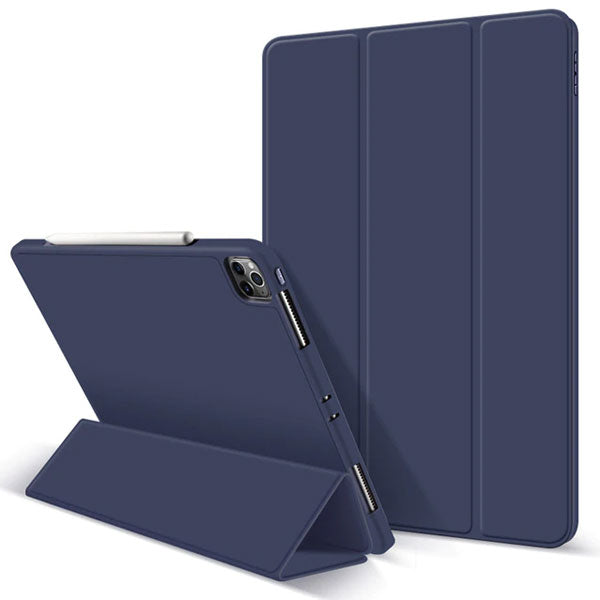 iPad Pro Case 2020 11 inch 4th Gen Pencil Holder Blue Leather Cover-CoolDesignOnline