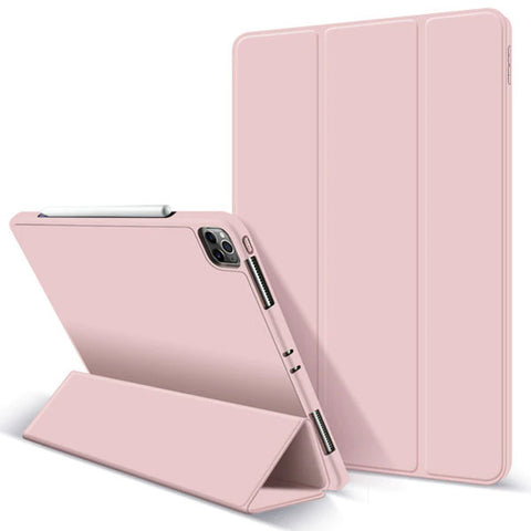 iPad Pro Case 2020 12.9 inch 4th Gen Pencil Holder Pink Leather Cover-CoolDesignOnline