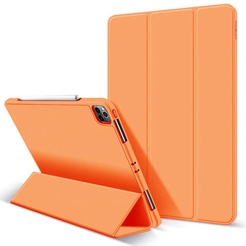 iPad Pro Case 2020 12.9 inch 4th Gen Pencil Holder Orange Leather Cover-CoolDesignOnline