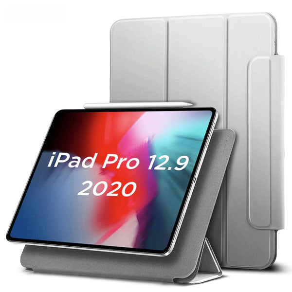 iPad Pro 12.9 Case With Pencil Holder 2020 4th Gen Grey iPad Cover-CoolDesignOnline