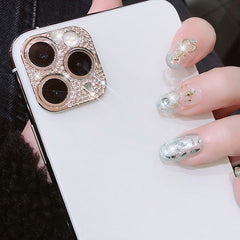 iPhone 11 Camera Protector Case Rose Gold Glitter Diamond Len Cover-CoolDesignOnline