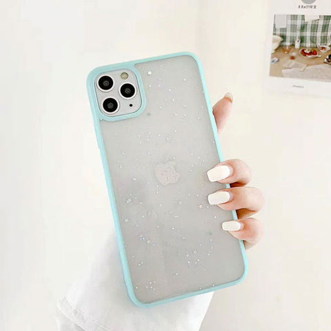 iPhone 11 Case Sky Blue Glitter Stars Candy Color Clear iPhone Cover-CoolDesignOnline