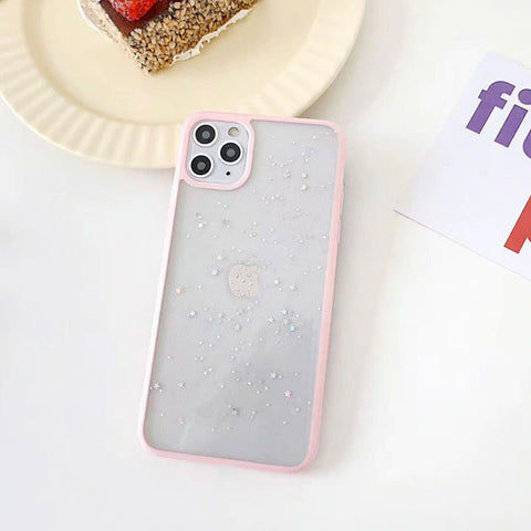 iPhone 11 Pro Case Pink Glitter Stars Candy Color Clear iPhone Cover-CoolDesignOnline