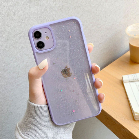 iPhone 11 Pro Case Lavender Glitter Stars Candy Color Clear iPhone Cover-CoolDesignOnline