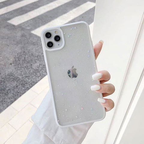iPhone 11 Pro Case White Glitter Stars Candy Color Clear iPhone Cover-CoolDesignOnline