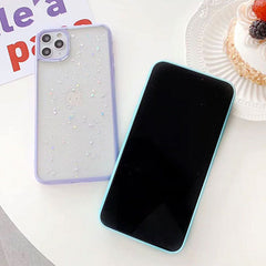 iPhone 11 Pro Max Case White Glitter Stars Candy Color Clear iPhone Cover-CoolDesignOnline