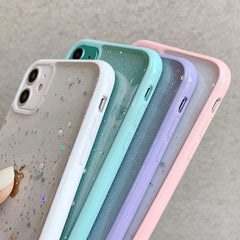 iPhone 11 Pro Max Case Sky Blue Glitter Stars Candy Color Clear iPhone Cover-CoolDesignOnline