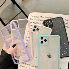 iPhone 11 Case Black Glitter Stars Candy Color Clear iPhone Cover-CoolDesignOnline