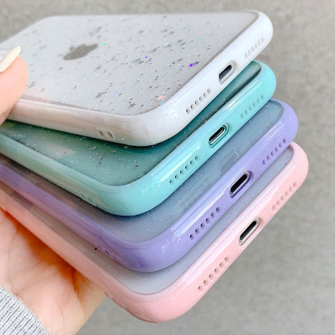 iPhone 11 Pro Case Sky Blue Glitter Stars Candy Color Clear iPhone Cover-CoolDesignOnline