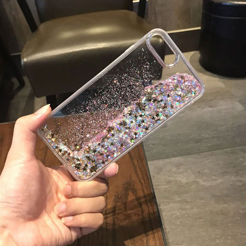 iPhone 8 Case Glitter Liquid Sand Pink Silicone iPhone Cover-CoolDesignOnline