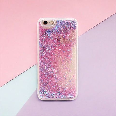 iPhone 6 Case Glitter Liquid Sand Pink Silicone iPhone Cover-CoolDesignOnline