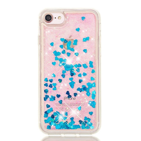 iPhone 8 Case Blue Glitter Liquid Sand Silicone iPhone Cover-CoolDesignOnline