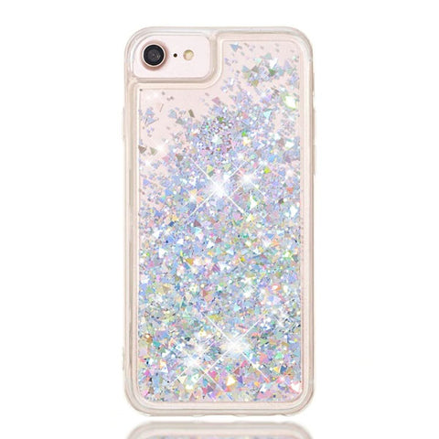 iPhone 8 Case Silver Glitter Liquid Sand Silicone iPhone Cover-CoolDesignOnline