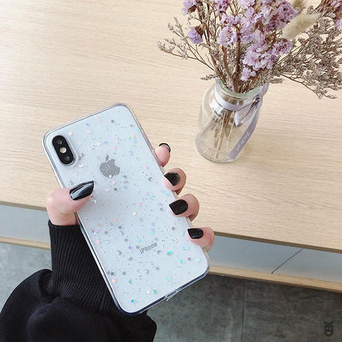 iPhone XS Case Glitter Bling Sparkle Star Moon Cover-CoolDesignOnline