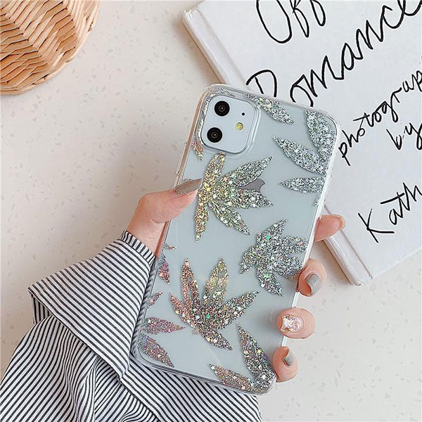 iPhone 11 Pro Case Clear Glitter Maple Leaf iPhone Cover Leaf-CoolDesignOnline