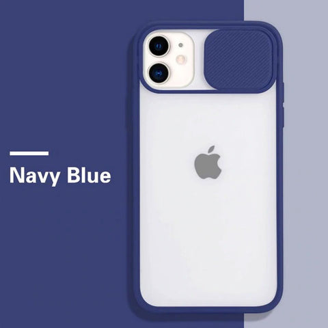 iPhone 11 Case Candy Navy Blue Color Camera Lens Protection Cover-CoolDesignOnline