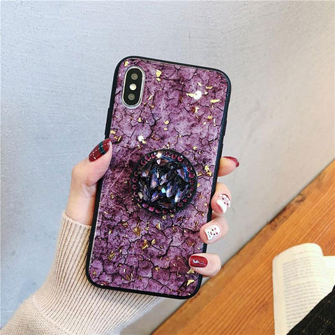 iPhone XS Case Glitter Marble Diamond Ring Holder Purple-CoolDesignOnline
