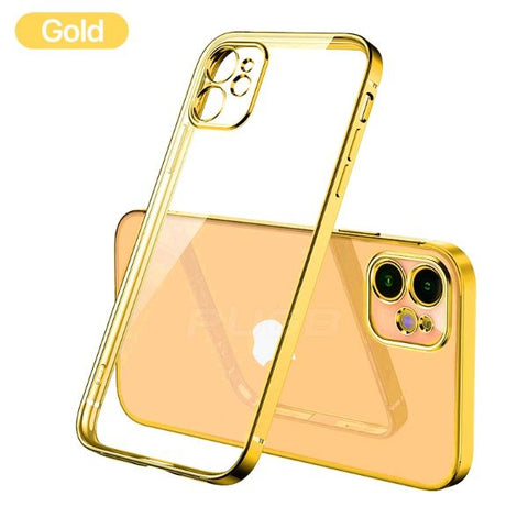 iPhone 12 Pro Max Case Gold Plating TPU Transparent Soft Clear Cover-CoolDesignOnline