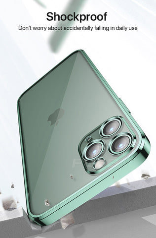 iPhone 12 Pro Max Case Dark Green Plating TPU Transparent Soft Clear Cover-CoolDesignOnline