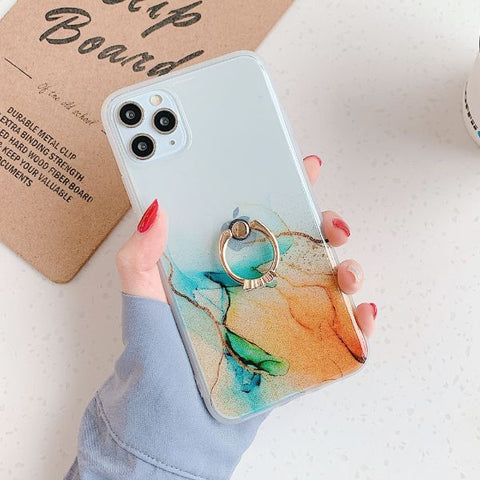 iPhone 12 Pro Max Case Vintage Clear Colorful Marble iPhone Cover Ring C-CoolDesignOnline