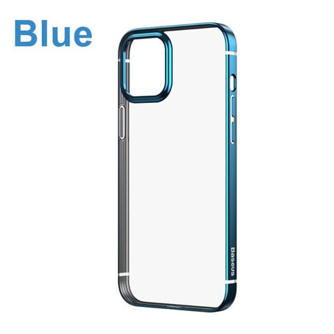 iPhone 12 Case Blue Plating Transparent Clear iPhone Cover-CoolDesignOnline