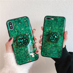 iPhone 11 Case Glitter Marble Diamond Ring Holder Blue-CoolDesignOnline