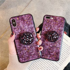 iPhone 11 Pro Max Case Glitter Marble Diamond Ring Holder Pink-CoolDesignOnline