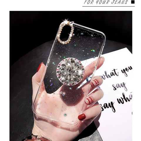 iPhone X Case Glitter Marble Diamond Ring Holder Purple-CoolDesignOnline