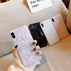 iPhone XS Case Glitter Glossy Marble Bling Shell iPhone Cover White-CoolDesignOnline