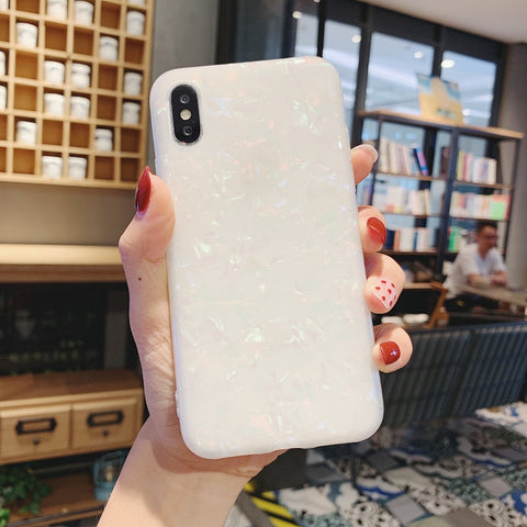 iPhone X Case Glitter Glossy Marble Bling Shell iPhone Cover White-CoolDesignOnline