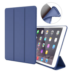 iPad mini 4 Case Leather Trifold Stand Soft Silicone Smart Cover Blue-CoolDesignOnline