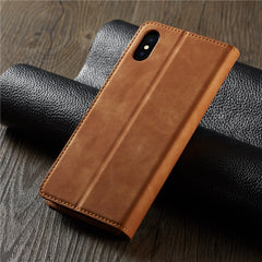 iPhone XS Wallet Case Leather Flip Card Holder iPhone Case Brown-CoolDesignOnline