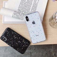 iPhone XS Case Glitter Bling Sparkle Star Moon Cover Black-CoolDesignOnline