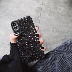 iPhone X Case Glitter Bling Sparkle Star Moon Cover Black-CoolDesignOnline