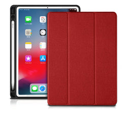 iPad Pro 3rd Generation Case 12.9 inch With Pencil Holder Cover Red-CoolDesignOnline