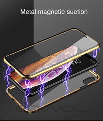 iPhone XS Max Case Metal Magnetic Adsorption iPhone Cover Gold-CoolDesignOnline