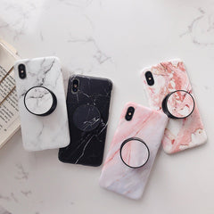 iPhone XS Case Pink Marble Stand Holder iPhone Cover-CoolDesignOnline