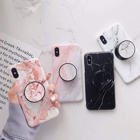 iPhone X Case Pink White Marble Stand Holder iPhone Cover-CoolDesignOnline