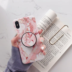 iPhone XS Max Case Pink Marble Stand Holder iPhone Cover-CoolDesignOnline