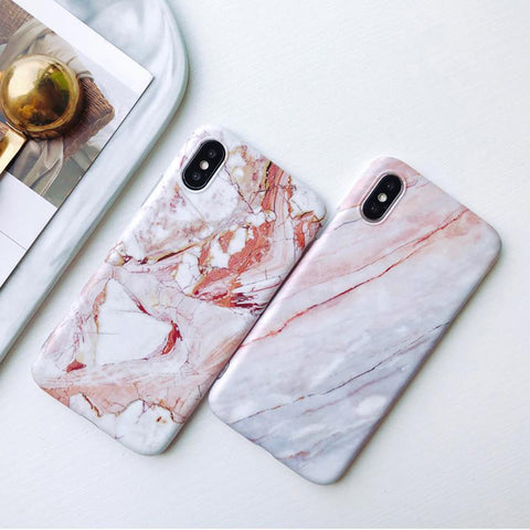 iPhone X Case Pink White Marble iPhone Cover-CoolDesignOnline