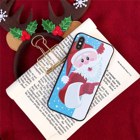 iPhone X Case 3D Cartoon Christmas Santa Claus iPhone Cover-CoolDesignOnline