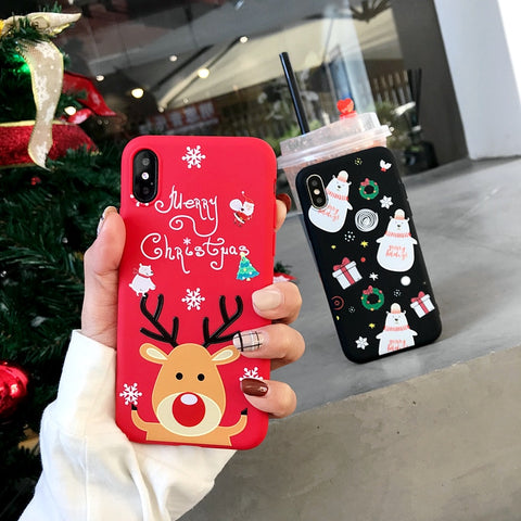 iPhone XS Case 3D Cartoon Christmas Deer iPhone Cover-CoolDesignOnline