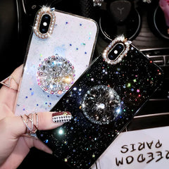 iPhone 11 Pro Max Case Glitter Marble Diamond Ring Holder Black-CoolDesignOnline