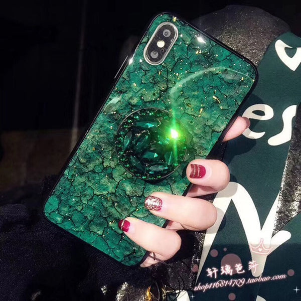 iPhone XS Case Glitter Marble Diamond Ring Holder Green-CoolDesignOnline