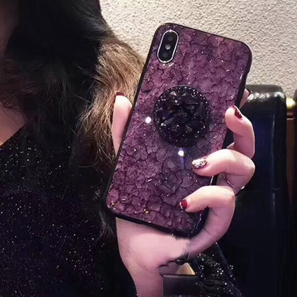 iPhone XS Max Case Glitter Marble Diamond Ring Holder Purple-CoolDesignOnline