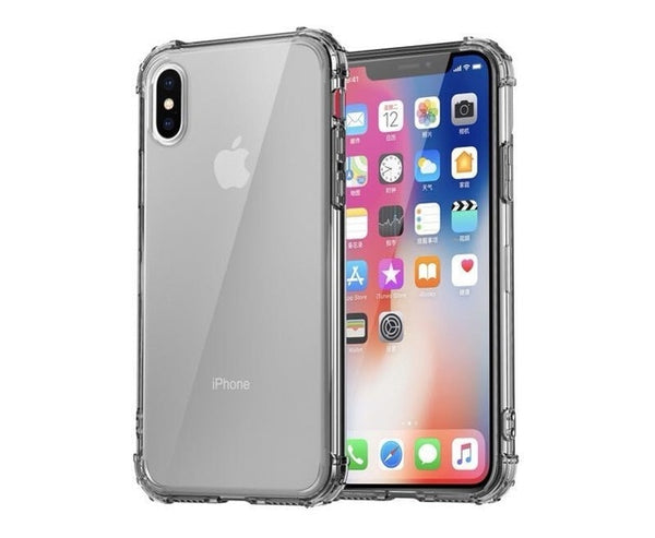 iPhone XS Case Four Corner Strengthen Silicon Clear iPhone Cover Gray-CoolDesignOnline